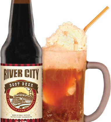 root beer bottle and rootbeer float